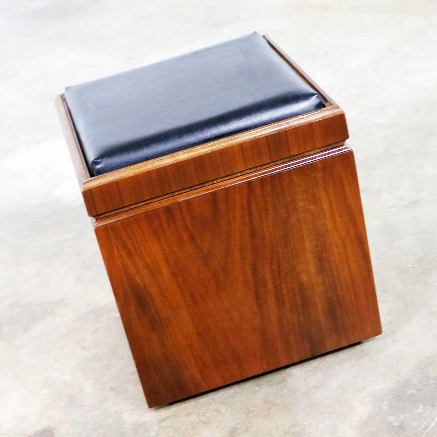 mid century modern lane rolling cube storage ottoman with game board flip table top