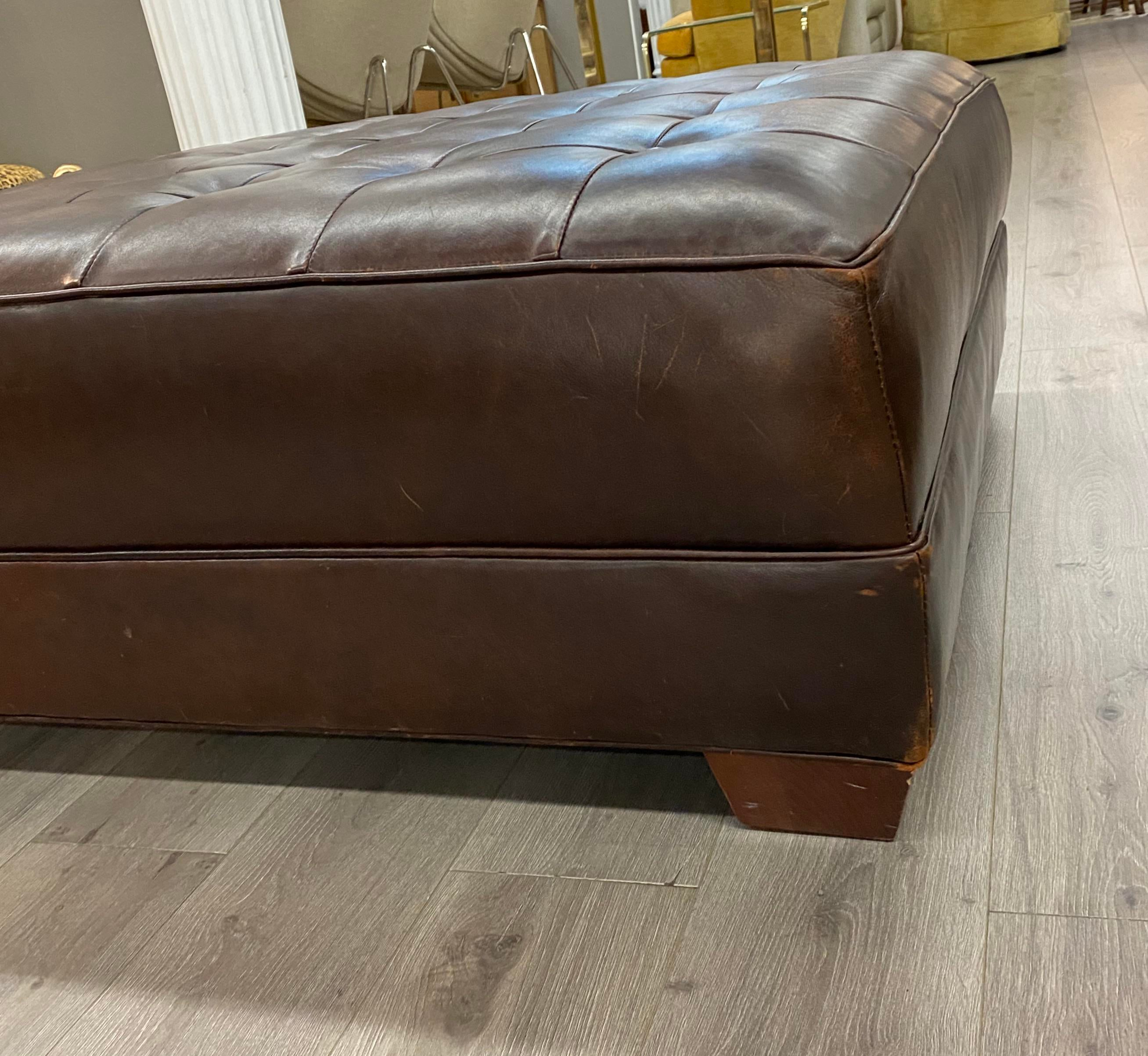 contemporary lee industries large brown leather square ottoman coffee table