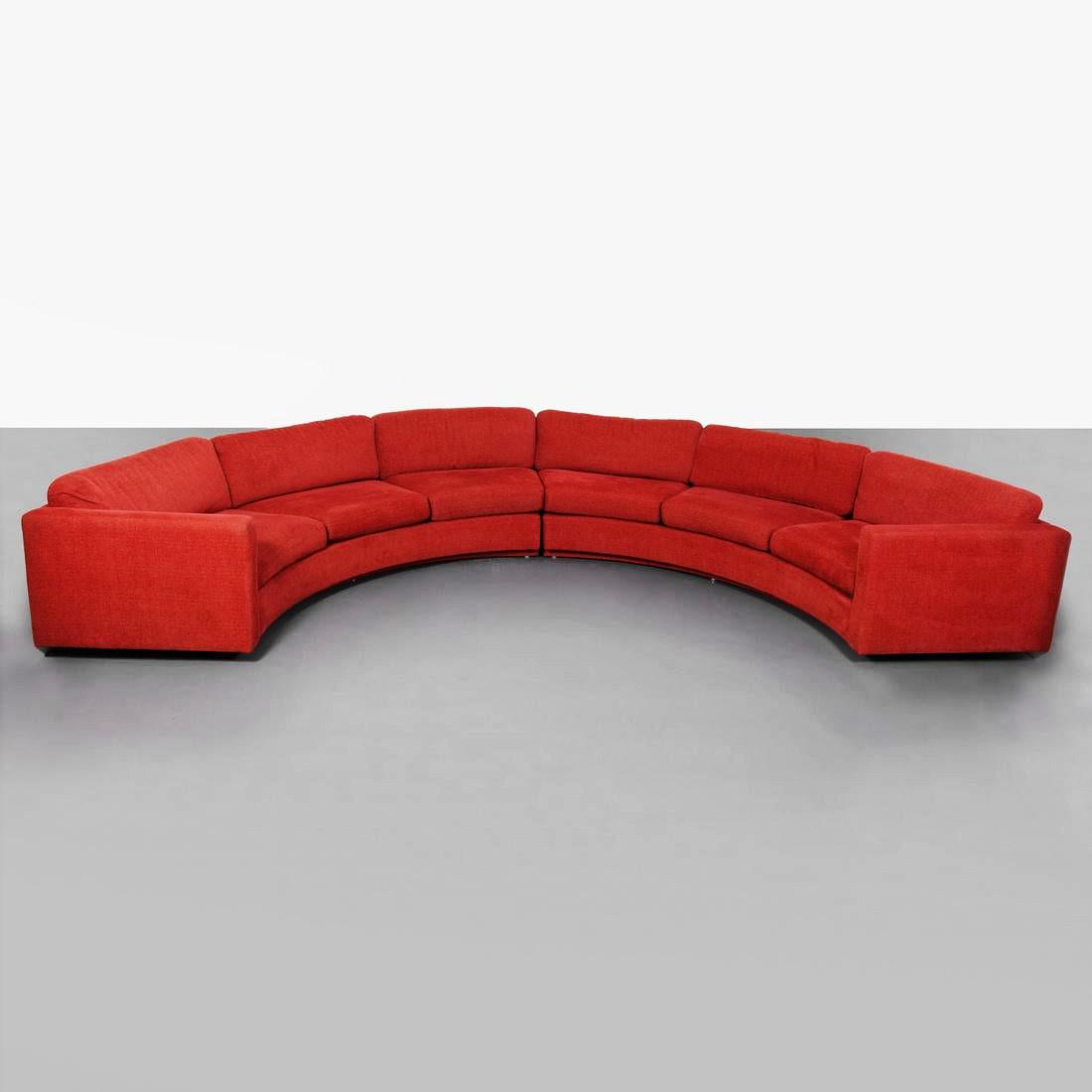 1960 s milo baughman for thayer coggin red half circle sectional sofa