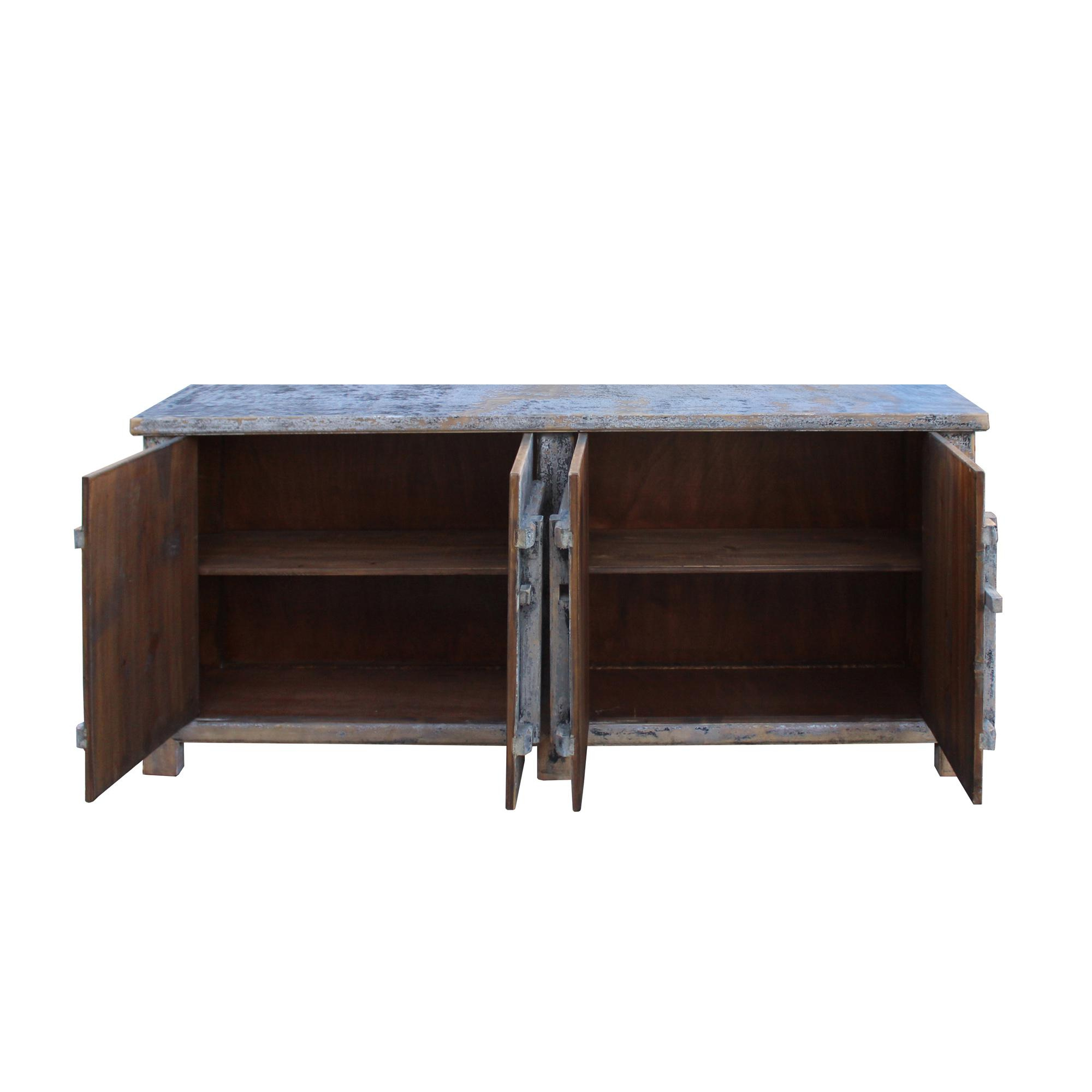 distressed pastel black gray white mix high credenza console buffet table
