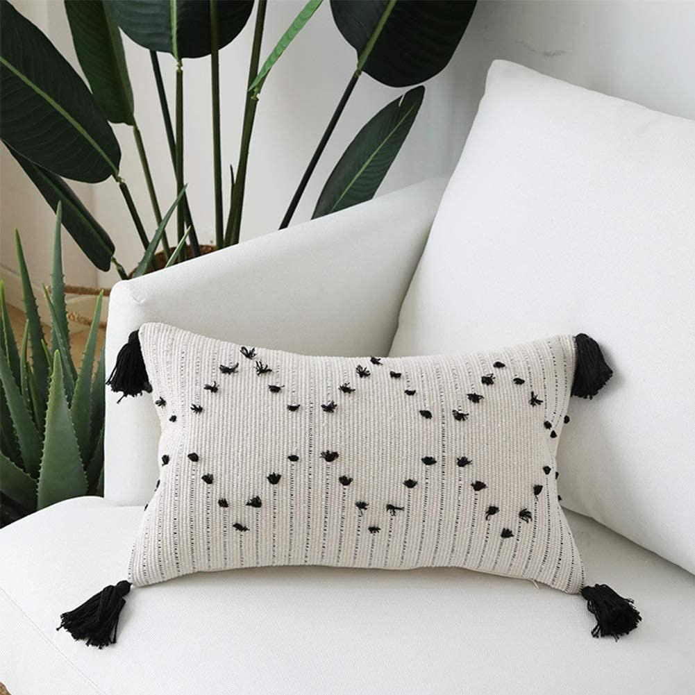 boho lumbar cream decorative throw pillow cover