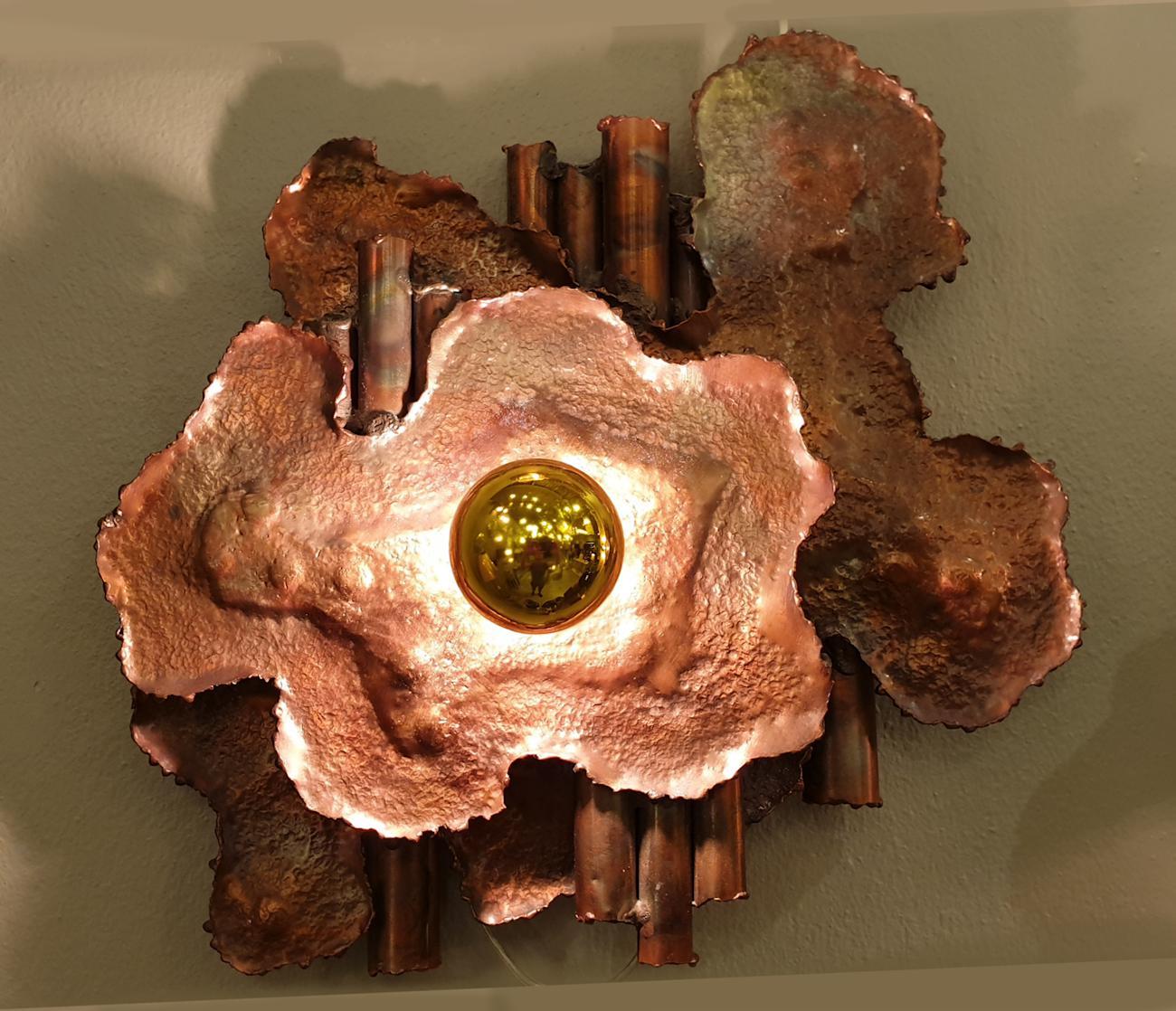 Mid-Century Modern Brutalist Copper Sconces, Italy 1970s ... on Mid Century Modern Sconces id=23124