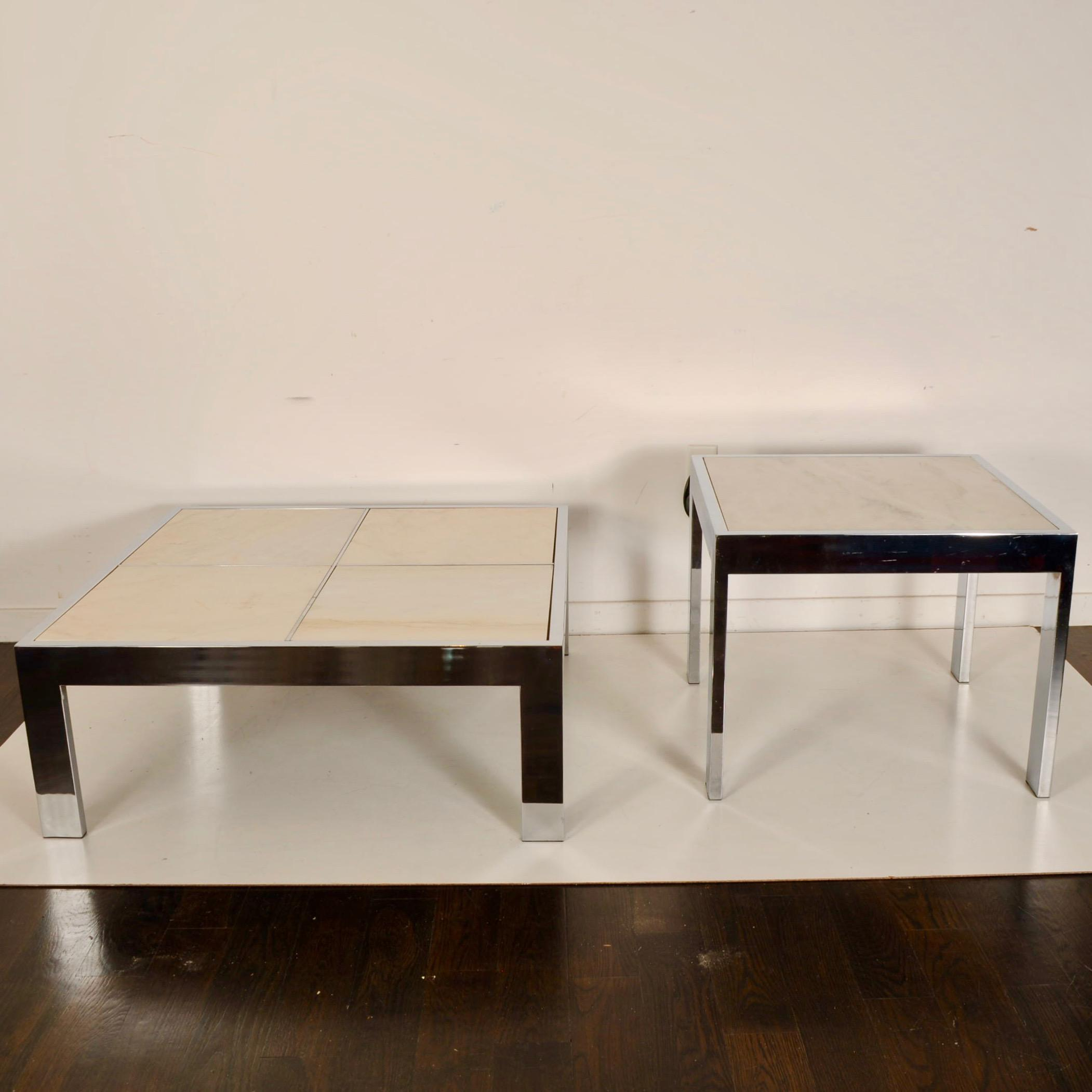 pace collection marble chrome coffee and side tables