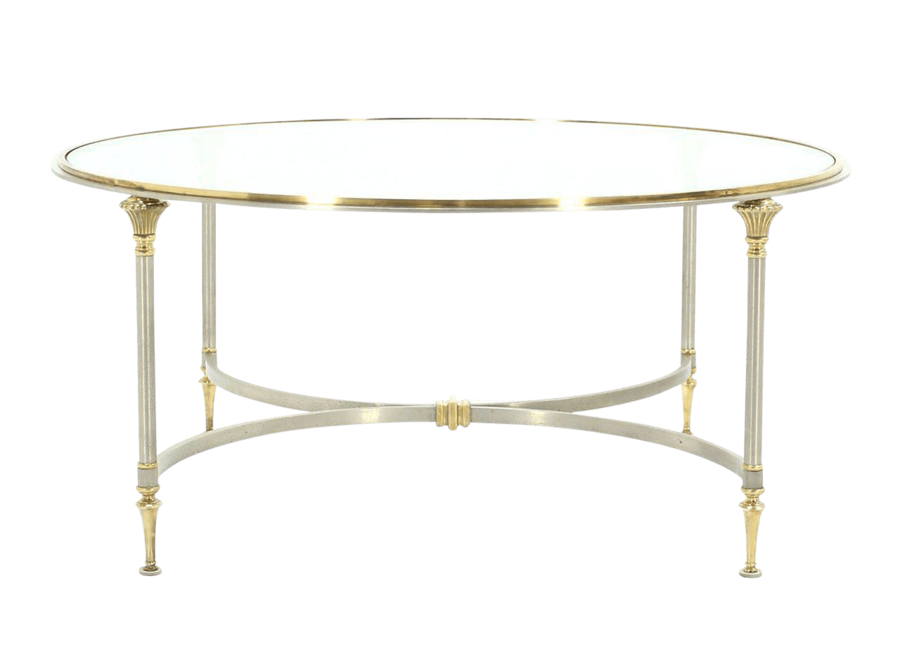 mid century modern round glass brass and pewter coffee table