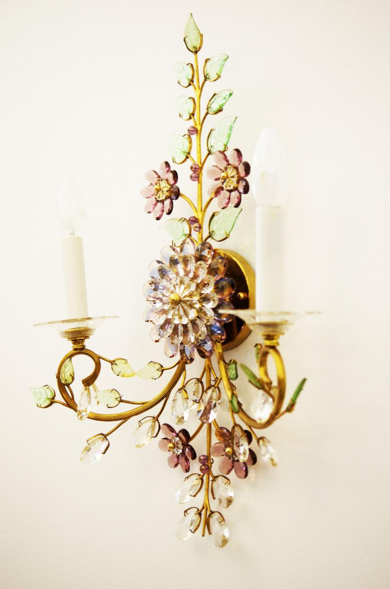 Exceptional Austrian vintage crystal flowers wall sconce ... on Wall Sconces With Flowers id=41623