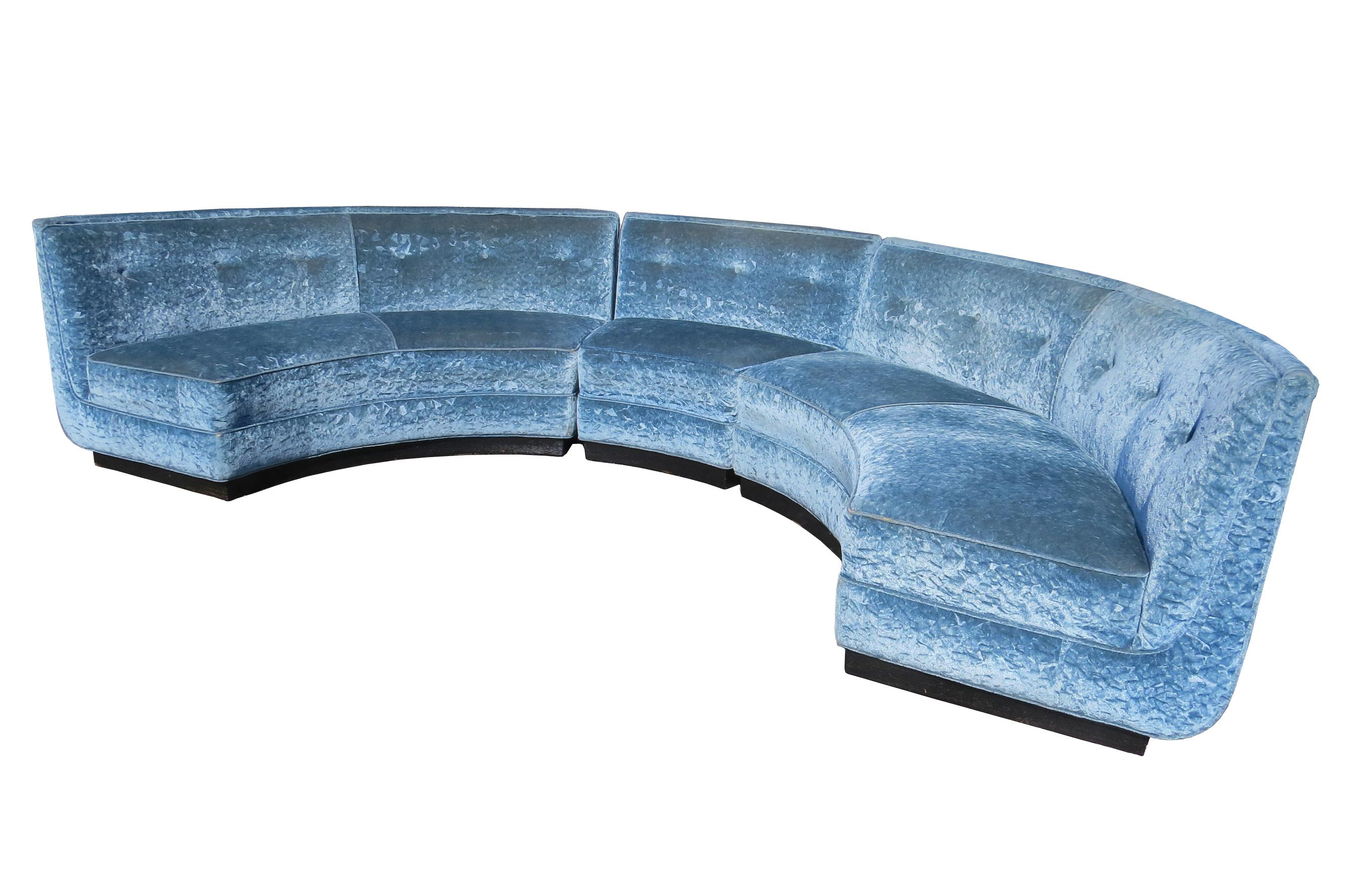 early 20th century semi circle sectional sofa in crushed blue velvet on plinth base 3 pieces
