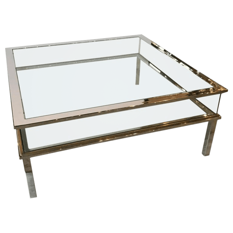 mid century museum top chrome brass and glass coffee table