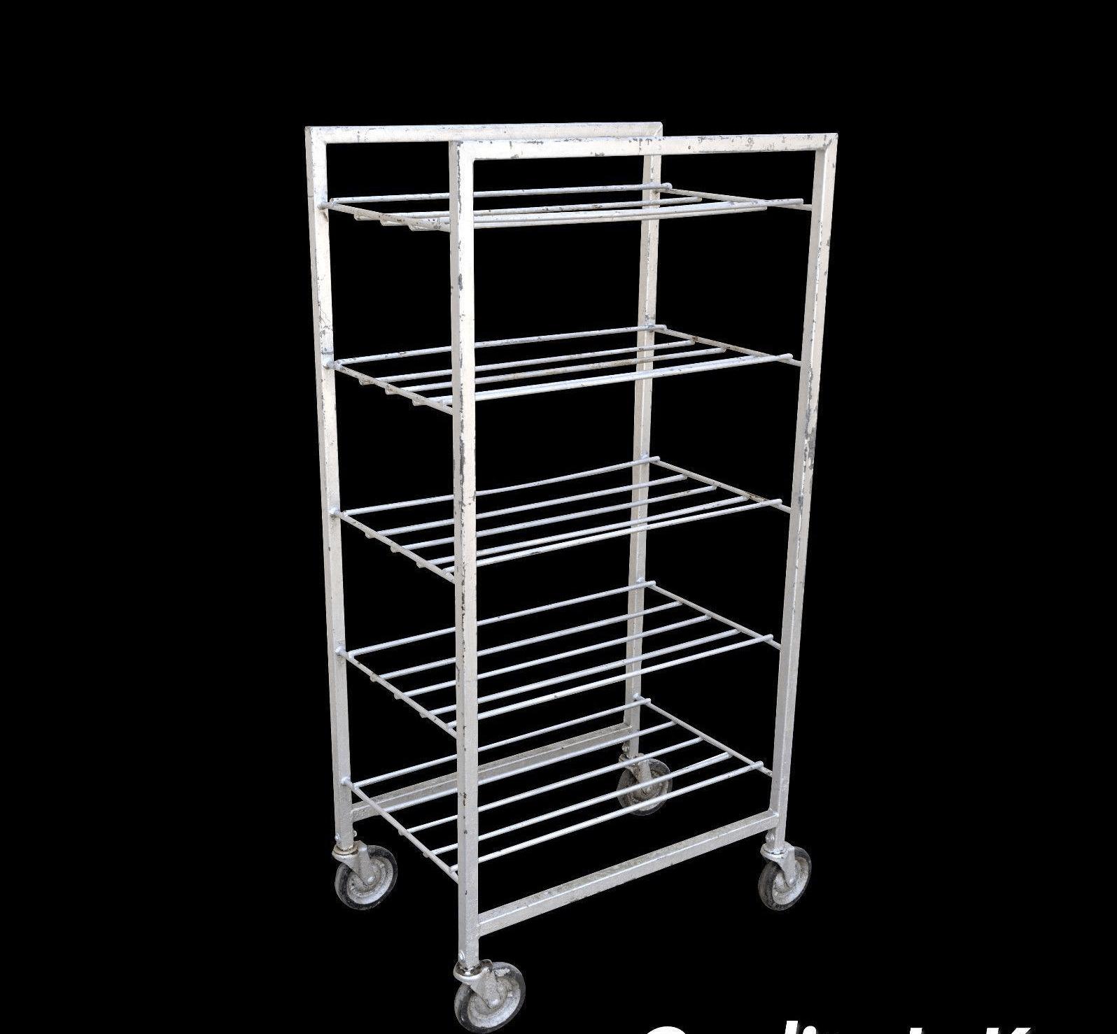 vintage industrial metal rolling 5 tier bakery bakers cart display shelf rack