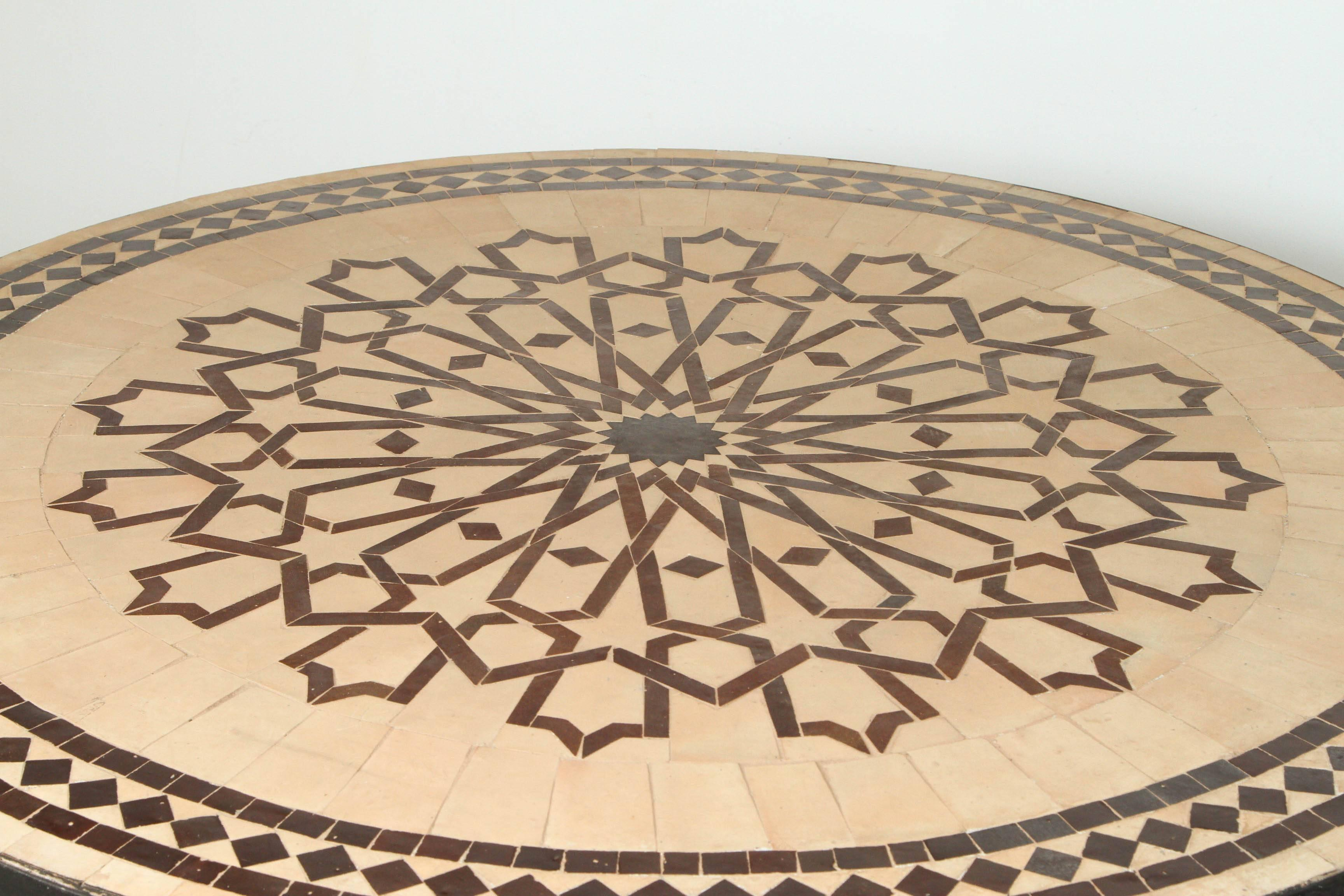 Lovely Moroccan Round Mosaic Outdoor Tile Table on Iron ... on Outdoor Living Iron Mosaic id=34941