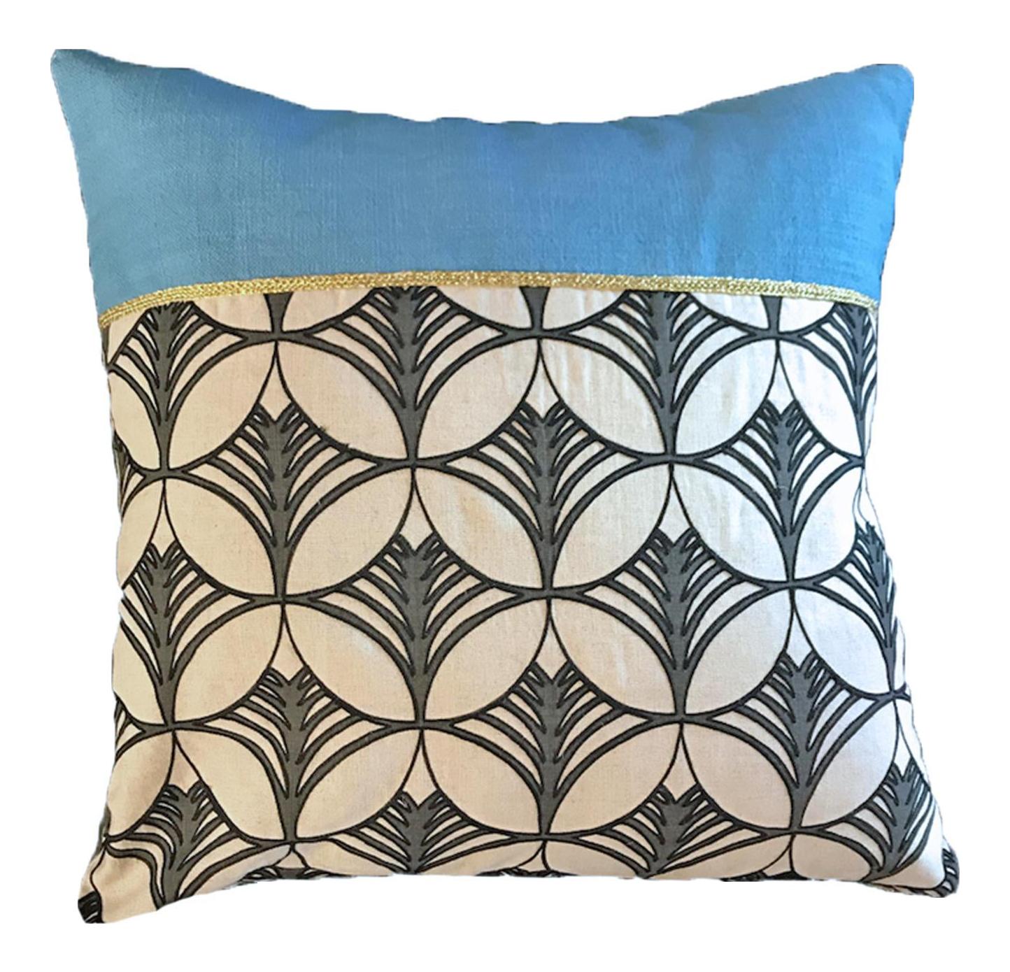 Mid Century Blue Accent Pillow Chairish