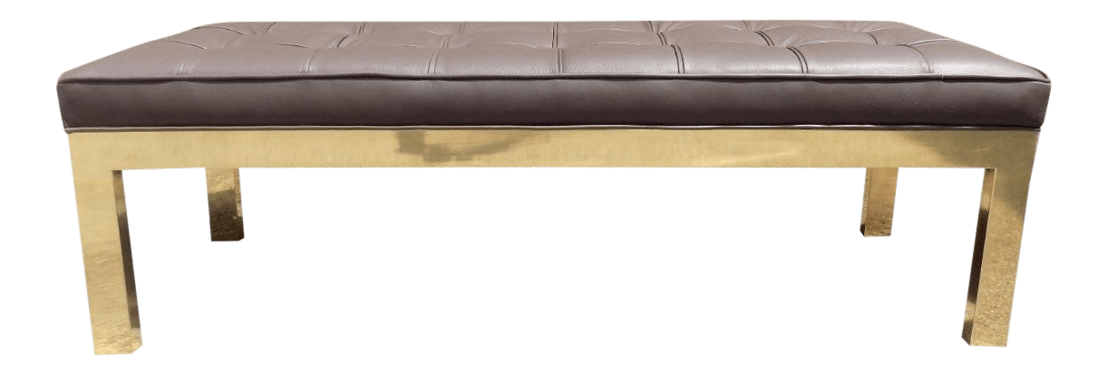 1970s Mid Century Modern Mastercraft Leather Long Bench