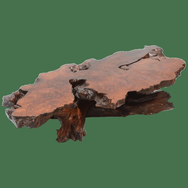 nakashima style natural burl wood stump coffee table