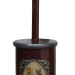 Tibetan Tall Craved Dark Red Yellow Flower Painting Floor Lamp Chairish