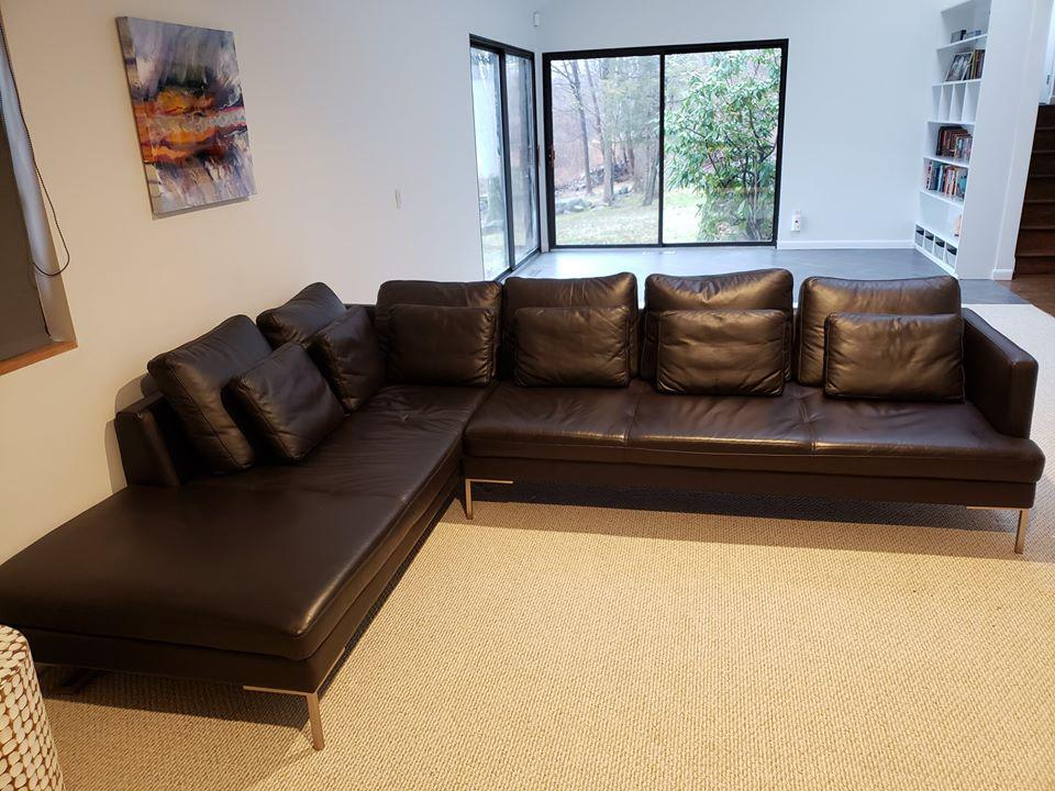 boconcept black leather sectional sofa