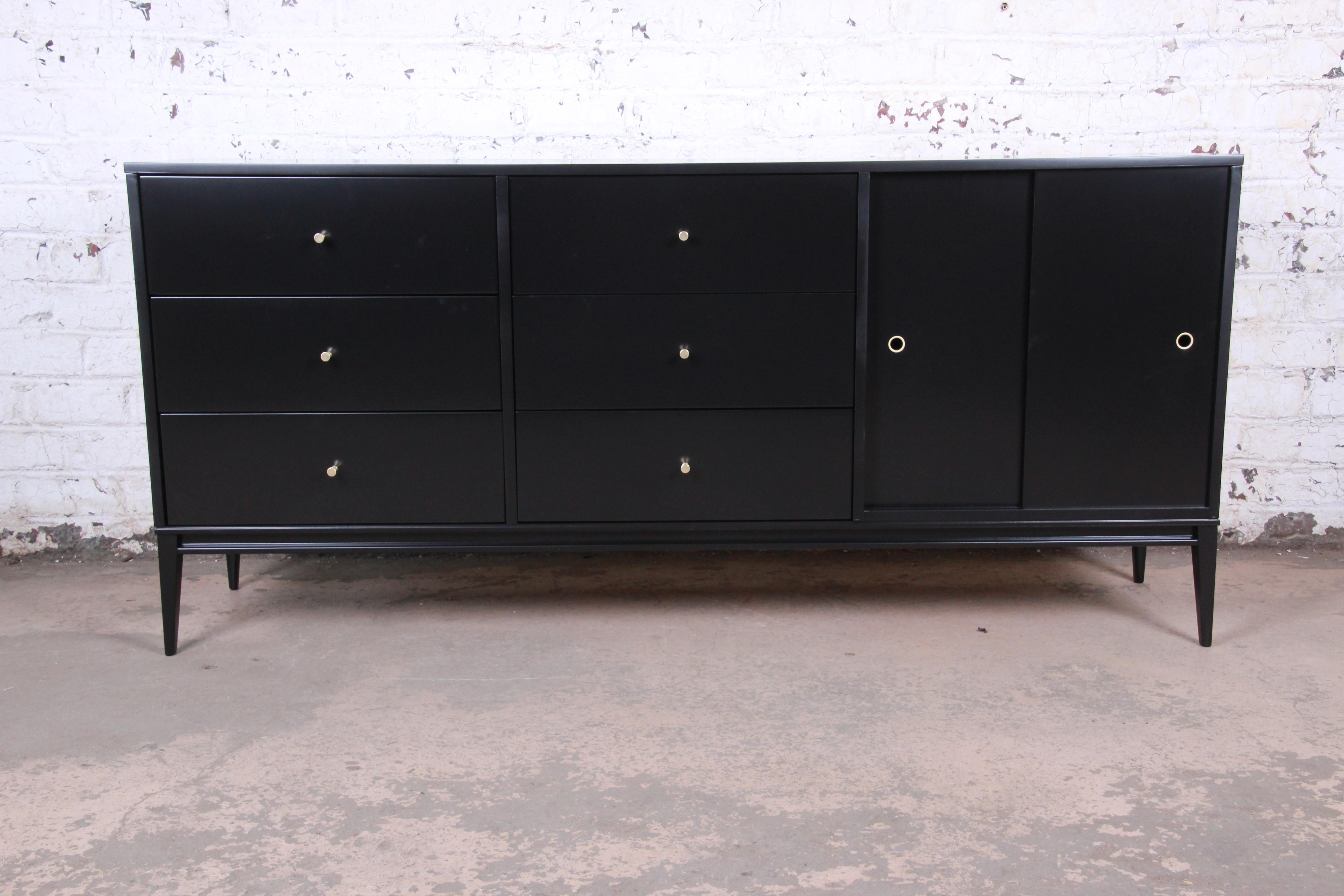 paul mccobb planner group mid century modern black lacquered credenza or long dresser newly restored