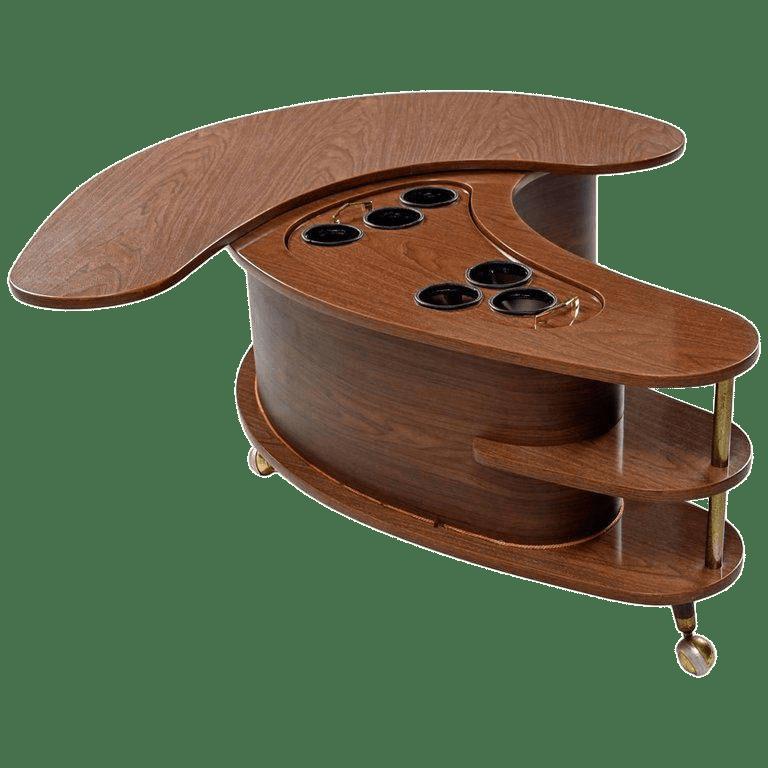mid century modern grand server boomerang kidney bean bar coffee table
