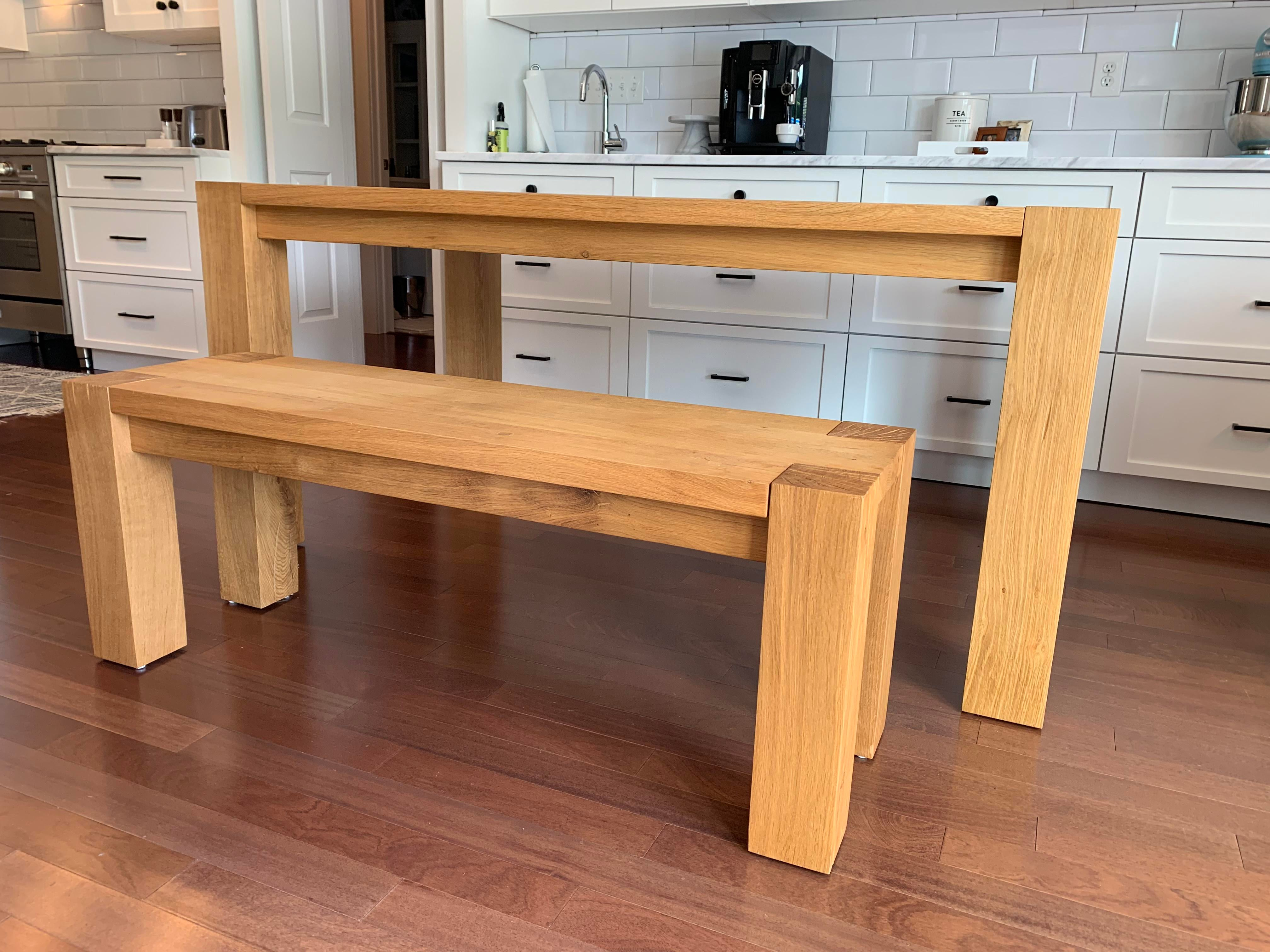 crate and barrel big sur natural dining table and bench