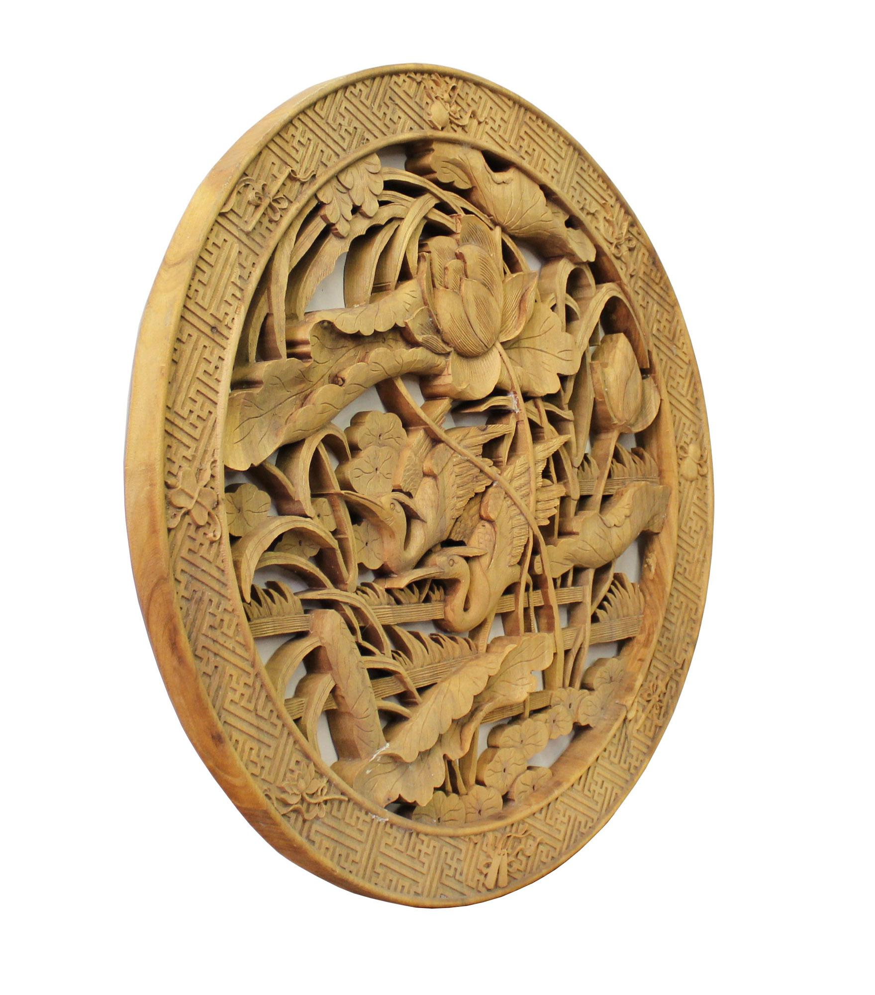 Chinese Round Flower Birds Wooden Wall Plaque Panel   Chairish This is a round wooden wall decor with Chinese flower and Birds theme  surrounded by a