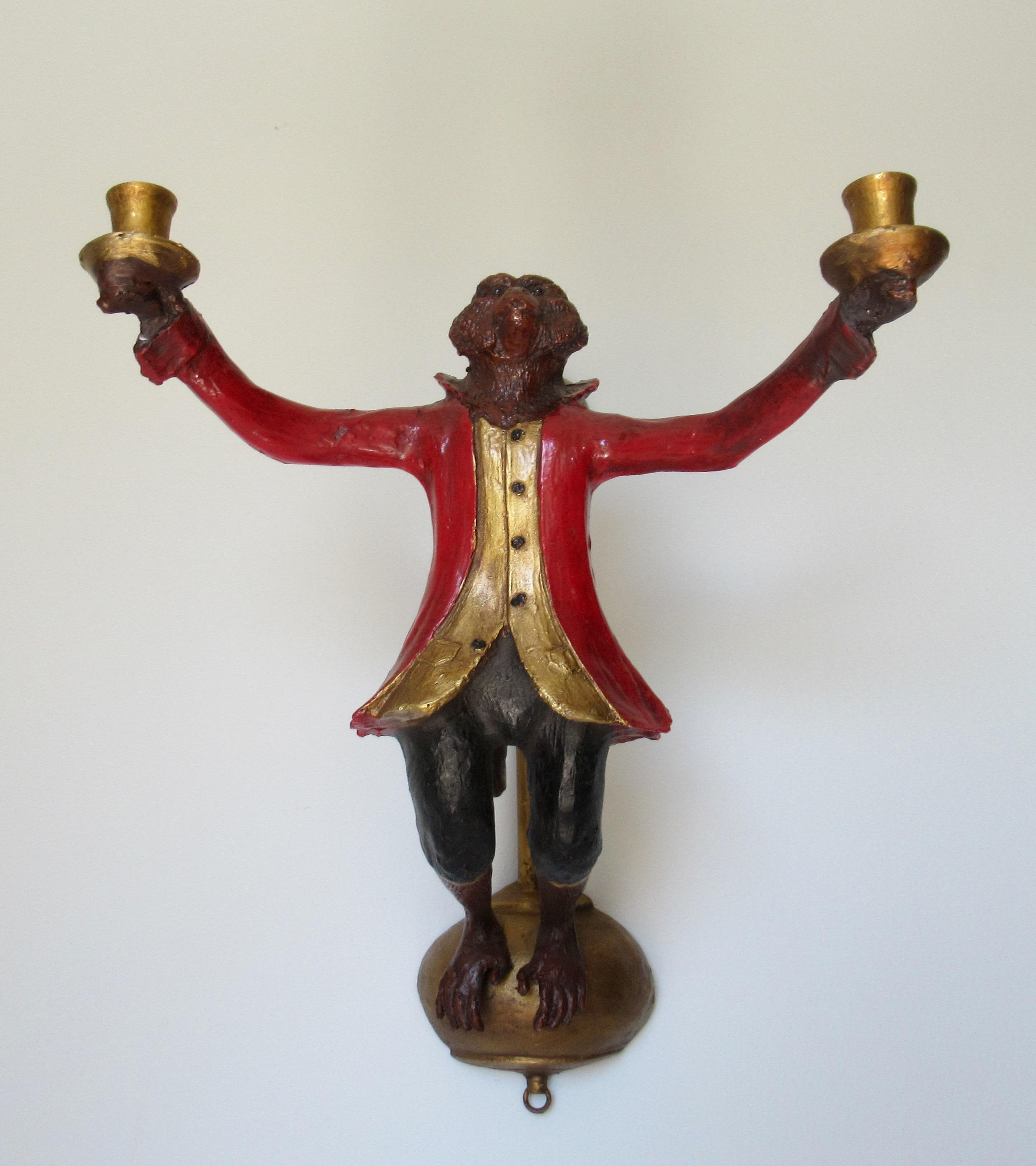 Vintage C.1988 Signed Rare Bill Huebbe Handcrafted Monkey ... on Vintage Wall Sconce Candle Holder Decorating Ideas id=69629