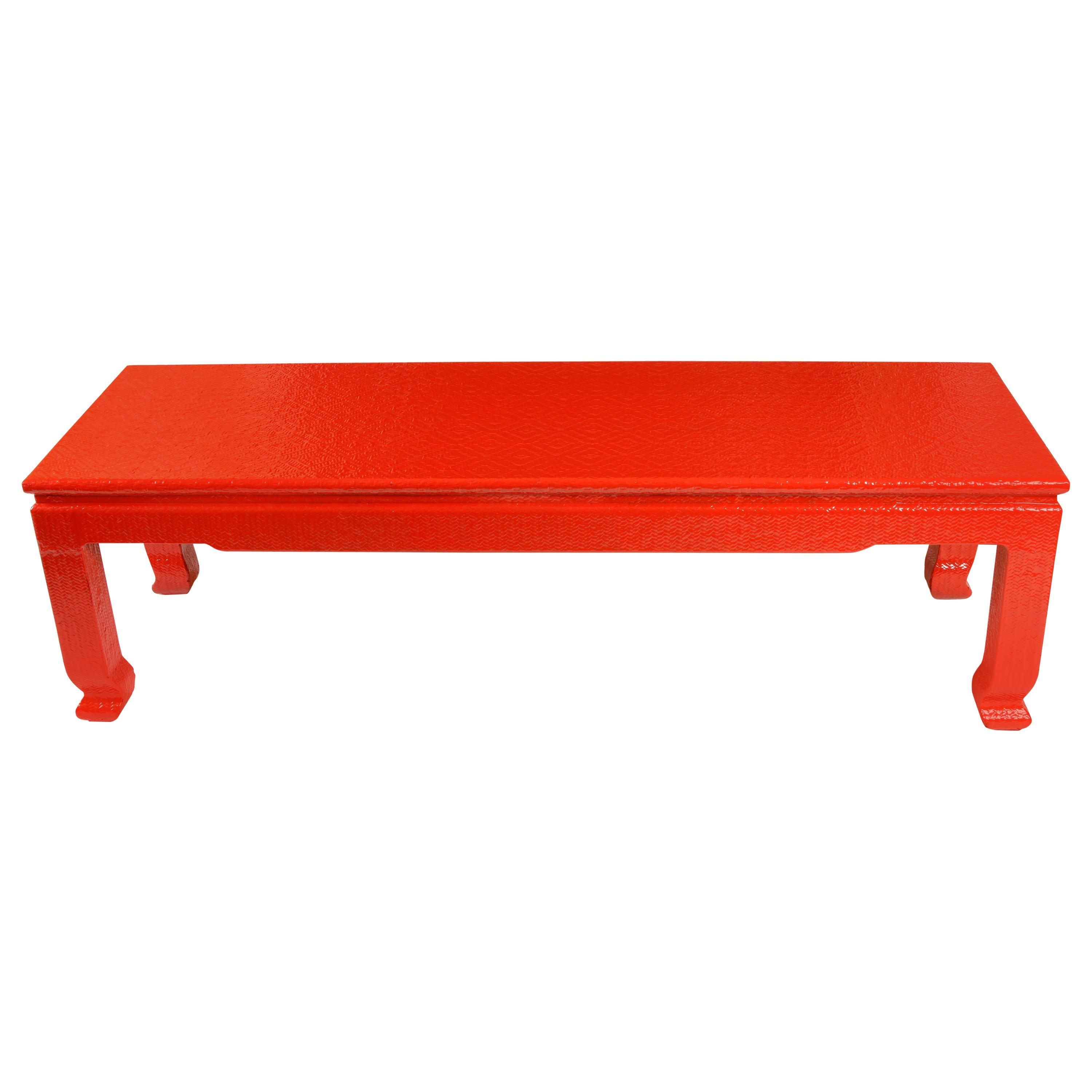 vintage asian red grasscloth coffee table