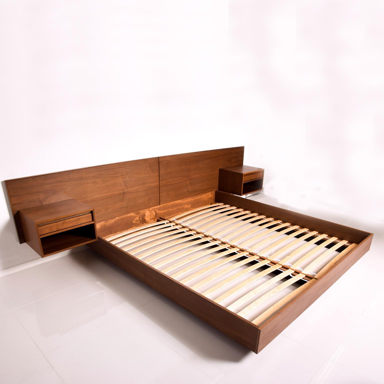 mid century danish modern king walnut platform pablex bed floating nightstands