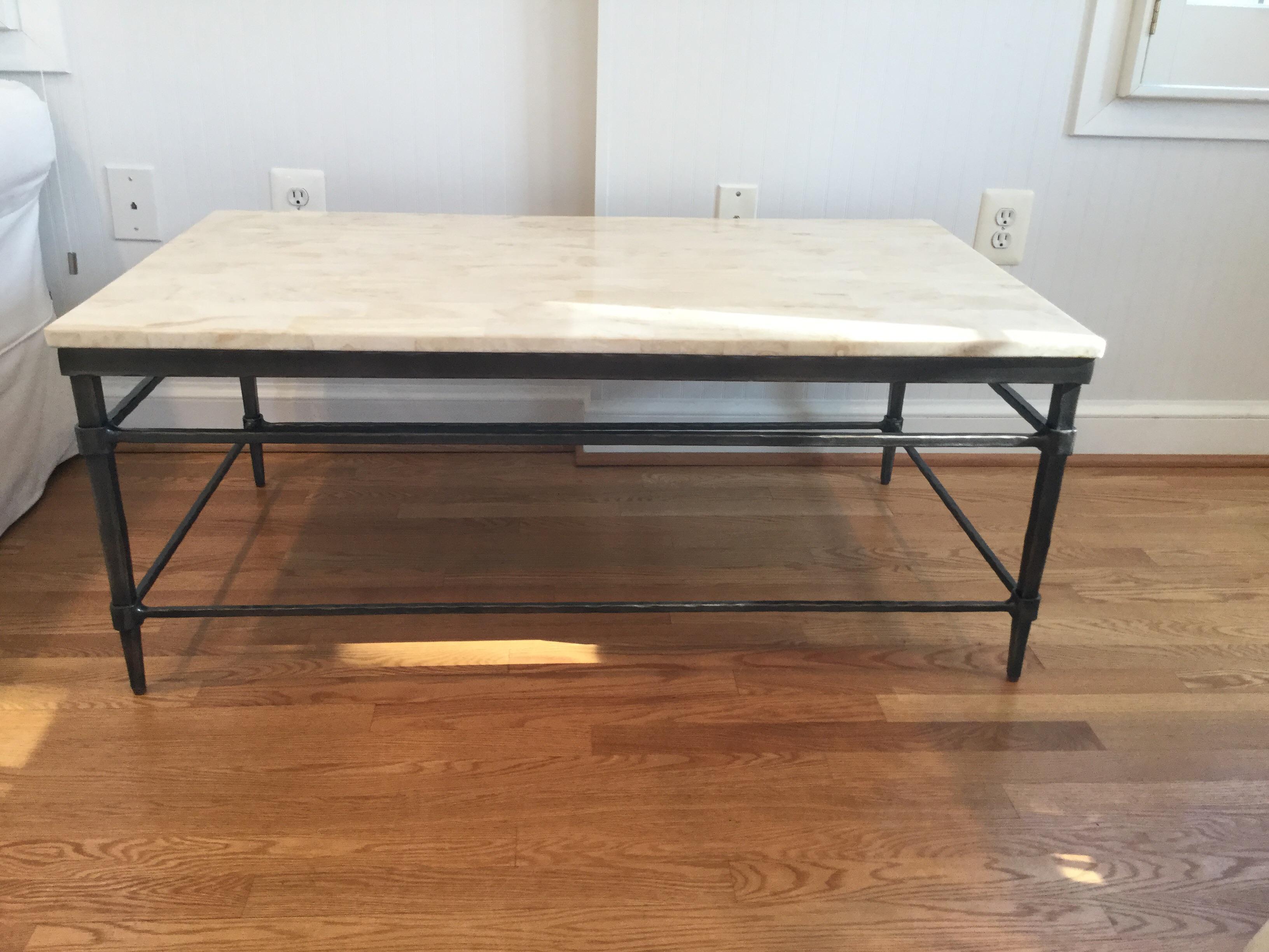 contemporary ethan allen vida stone top coffee table