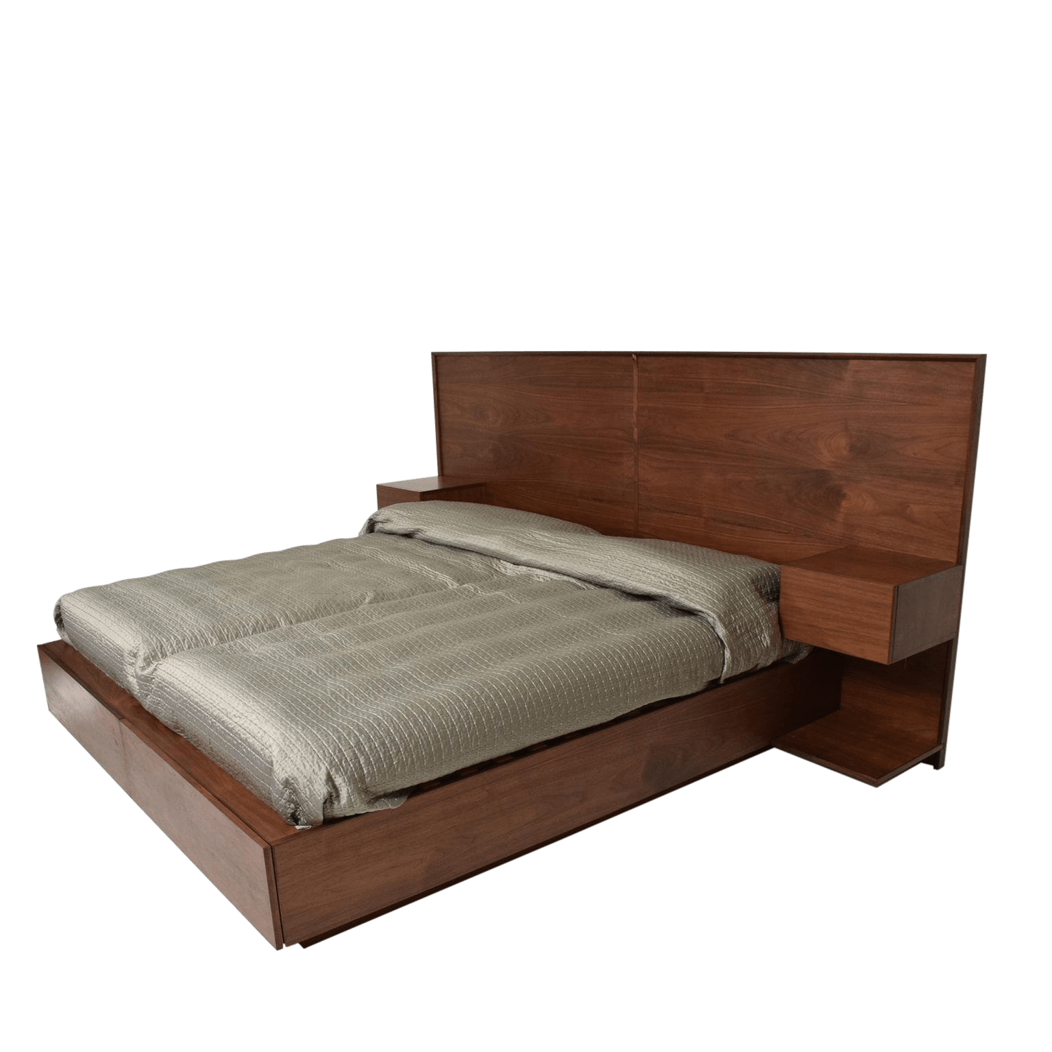Mid Century Modern Custom Walnut King Size Bed With Floating Nightstands