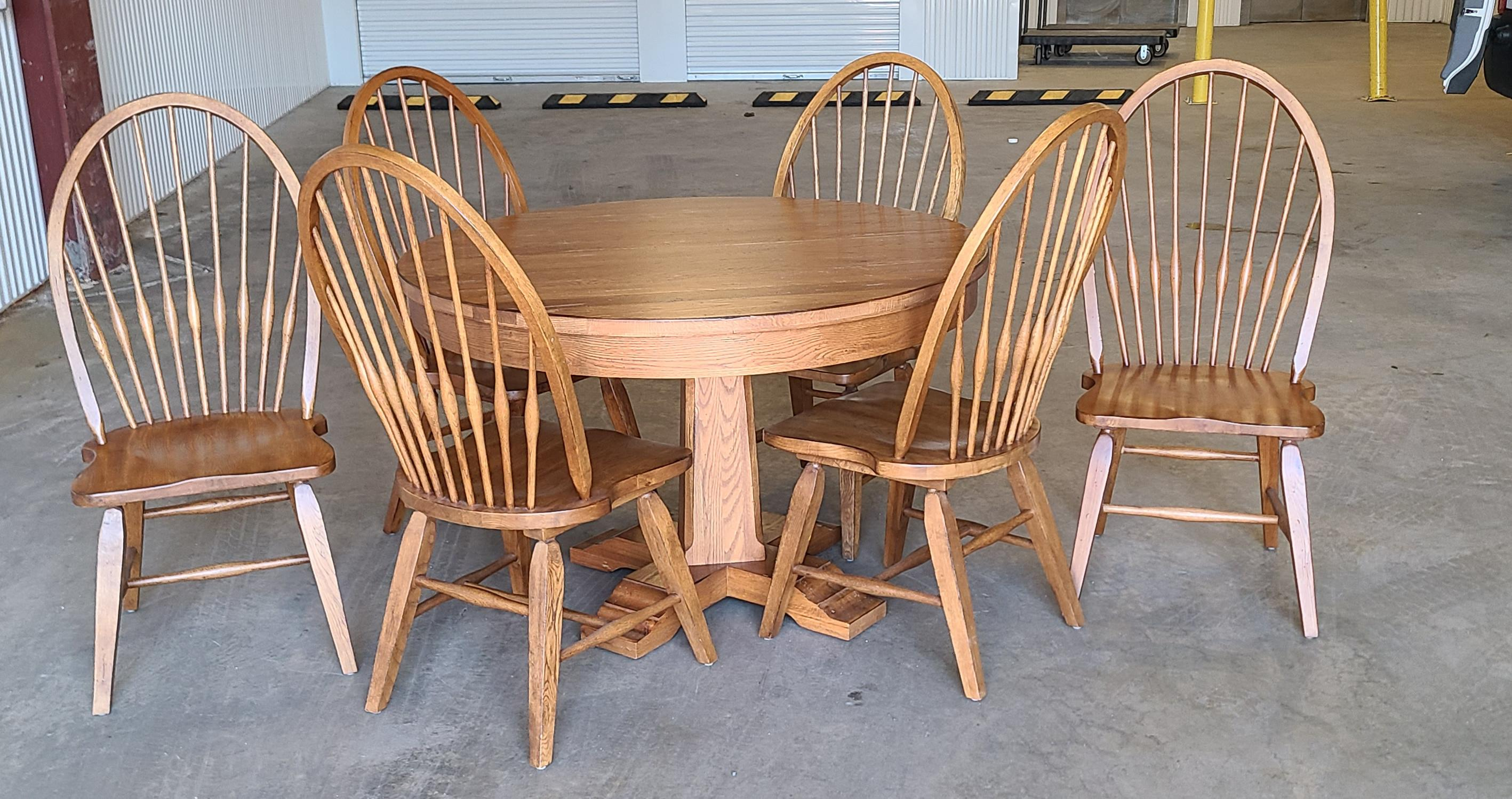 broyhill furniture attic heirlooms dining kitchen set solid oak table w 6 windsor side chairs