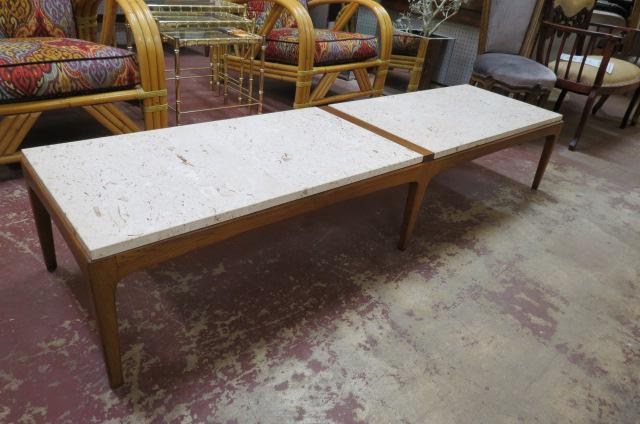 vintage mid century modern lane walnut coffee table with a marble top c1960