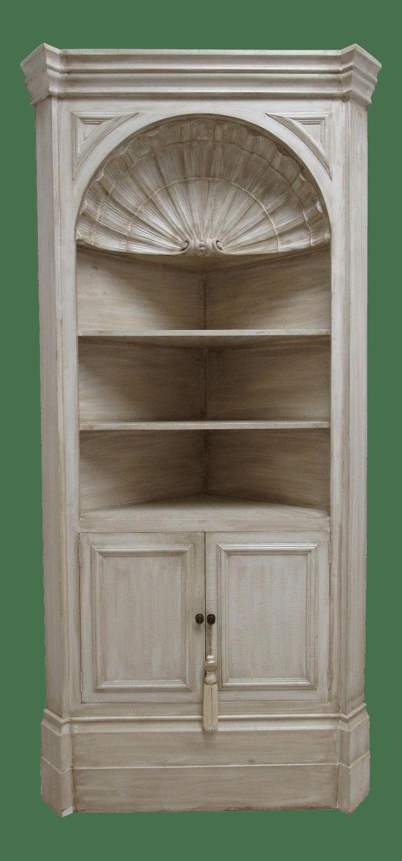 Vintage Custom Made Italian Distressed Shell Carved Corner