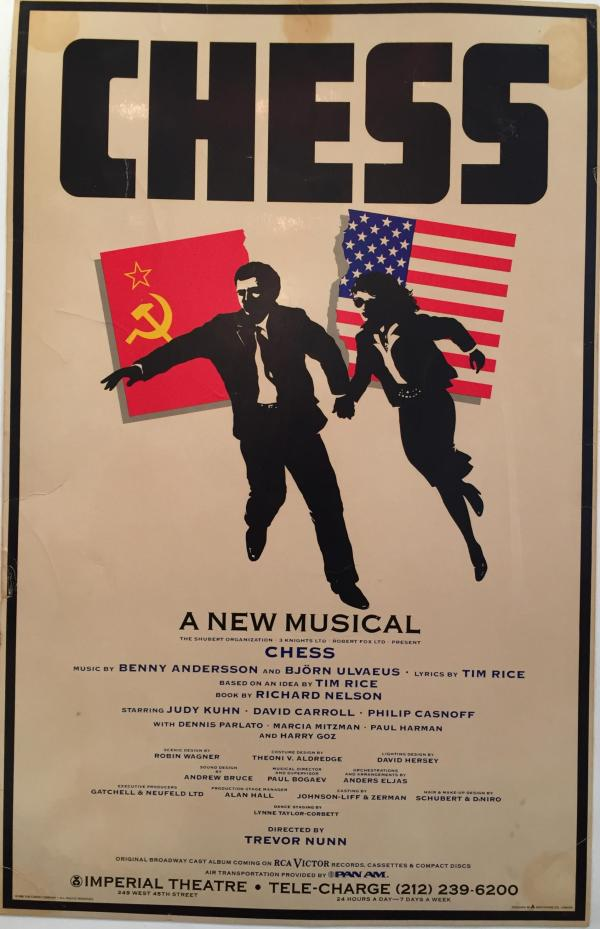 Original 1988 CHESS Broadway Musical Poster   Chairish