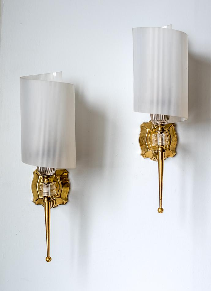 Mid-Century Modern French Wall Sconces - A Pair   Chairish on Mid Century Modern Sconces id=49356