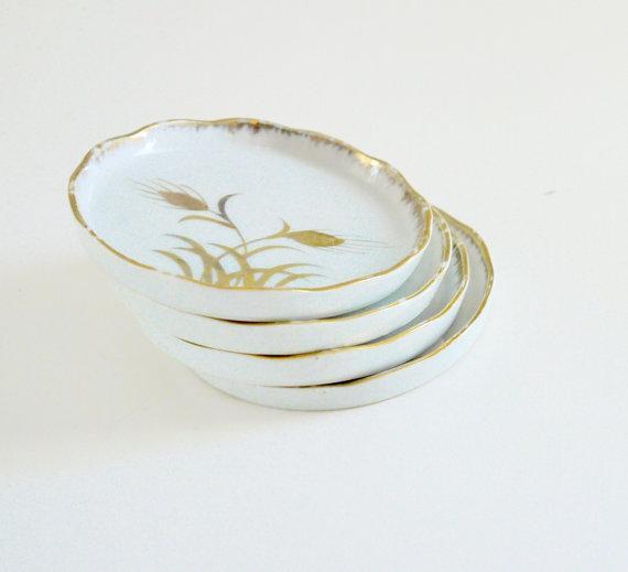White & Gold Wheat Embossed Coasters - Set of 4   Chairish