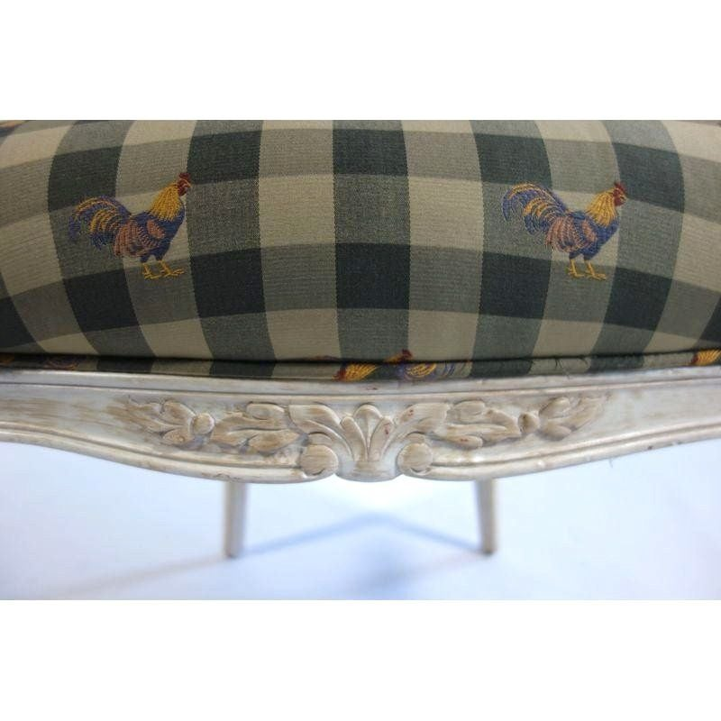 Louis Style Chair With Gingham Amp Rooster Fabric Chairish