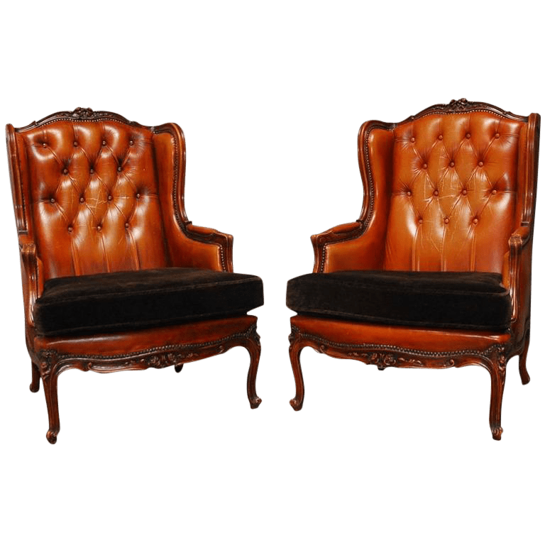 Louis XV Tufted Cognac Leather Wingbacks - A Pair | Chairish on Cognac Leather Headboard  id=36793