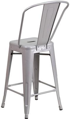 Flash Furniture Silver Metal Bar Stool - bar stool with round back