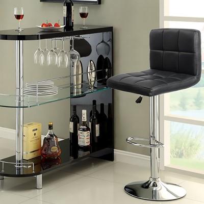 Homall Swivel Black Bonded Leather Bar Stool - bar stool with back and armrest