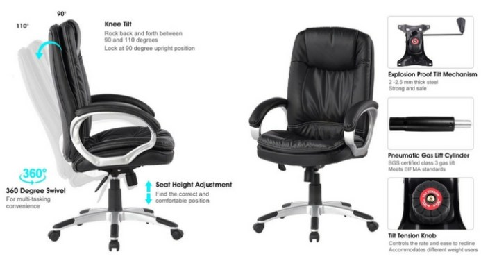 LANGRIA High-Back Executive Office Chair-Top 10 Best Office Chairs Reviews for Tall People