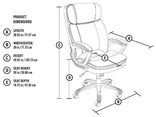 Serta 43675 Big and Tall Executive Chair-Top 10 Best Office Chairs Reviews for Tall People Amazon