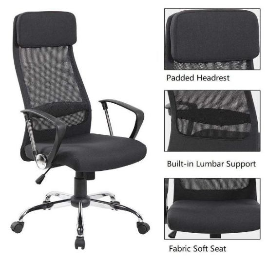 United UOC-8045-BK High Back Chair -Top 10 Best Office Chairs Reviews for Tall People