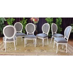 6 chaises medaillon ceruse blanc et velours gris