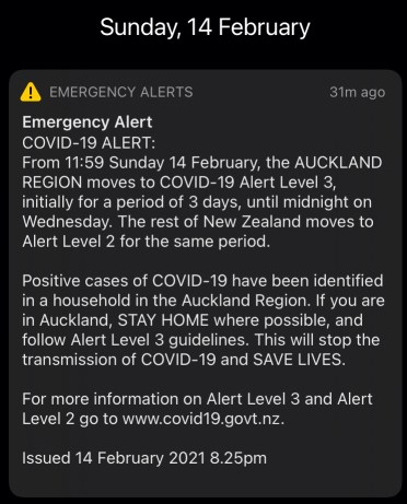 Emergency phone alert for third-wave of lockdown in Auckland.