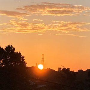 根岸森林公園に昇る朝日
