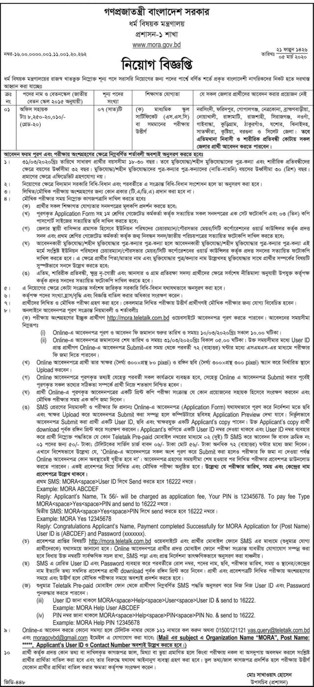 Ministry of Religious Affairs Job Circular 2020 2