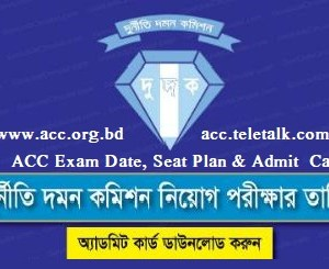 ACC Exam Date and Seat Plan