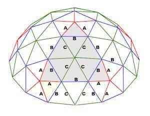 estrutura de triângulos que formam a frequência do domo geodésico