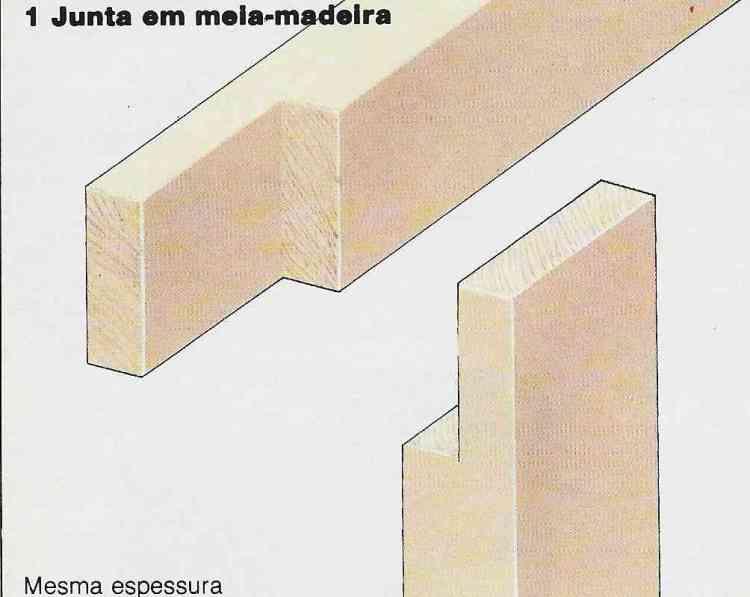 Foto ilustrativa do passo-a-passo para construir uma junta em meia-madeira com madeiras da mesma espessura