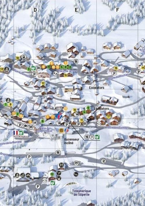 chalet Skidh. Plan détaillé de la station village de Vaujany