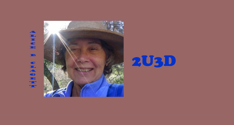 Logo: 2U3D by Alice B. Clagett: Head shot of Alice B. Clagett in a forest setting, with words in blue font on a beige background