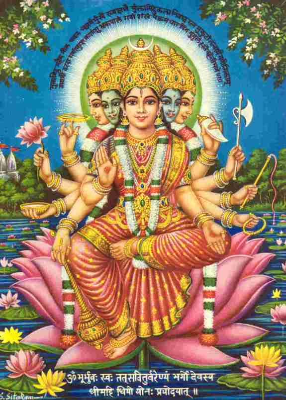 Goddess Gayatri With Mantra